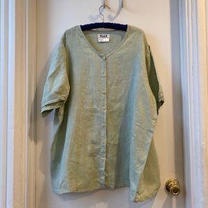 Flax linen button down short sleeve 1G green